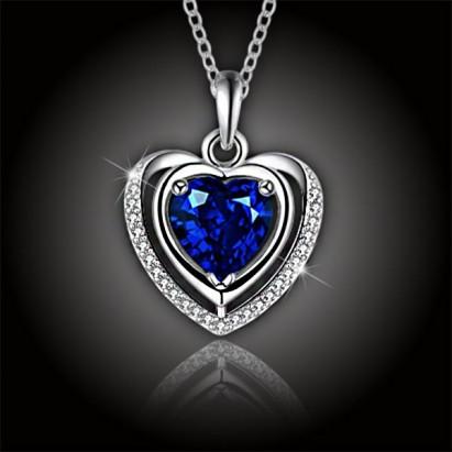 Luxusní náhrdelník Crystal Blue Heart