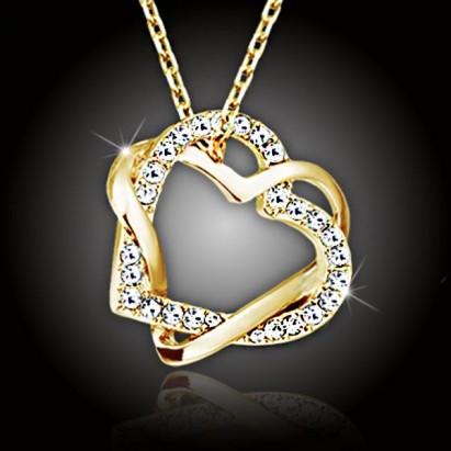 Prepletená veľká srdce s kameňmi Swarovski®, pozlátená