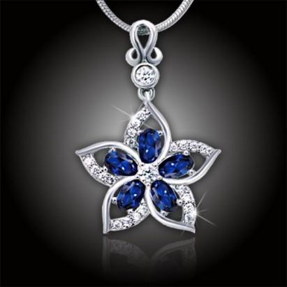 Náhrdelník Brillance Flower Queen Royal Blue