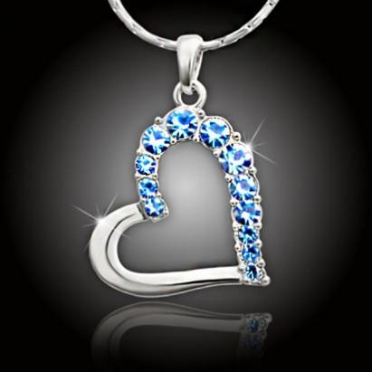 Veľké srdce s blankytne modrými kryštálmi Swarovski®