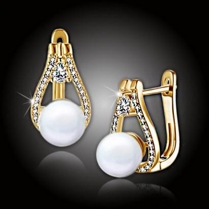 Pozlátené perlové náušnice Venus White Pearl