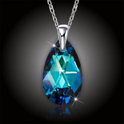 Krystal kapka Swarovski - Bermuda Blue + stříbrný řetízek