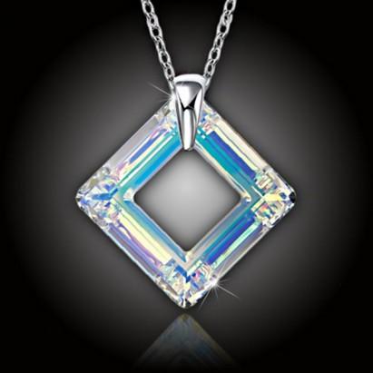 Krystal Square Ring Swarovski AB a stříbrný řetízek