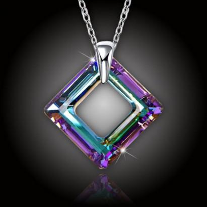 Krystal Square Ring Swarovski® Vitrail Light a strieborná retiazka
