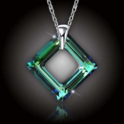 Krystal Square Ring Swarovski® Bermuda Blue a strieborná retiazka