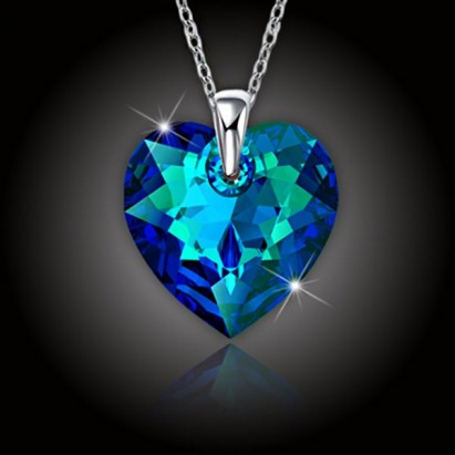Srdce Swarovski Bermuda Blue a strieborná retiazka