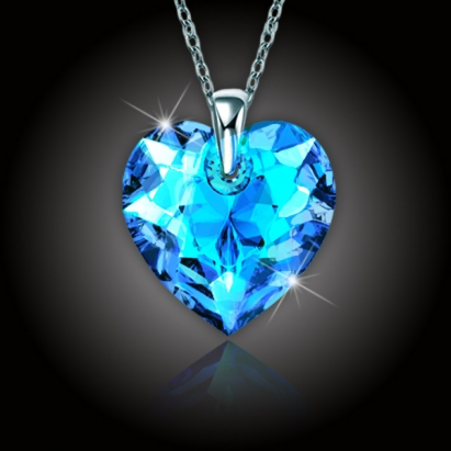 Srdce Swarovski® Crystal Blue AB a stříbrný řetízek
